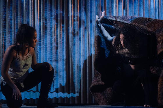 Valeria Rosero (Mara) and Isaly Viana (Raya) in Halcyon Theatre's De Troya, photo by Tom McGrath.