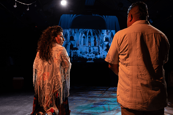 Isabel Quintero (Lupe) and Noe Jara (Grandpa Horacio) in Halcyon Theatre's De Troya, photo by Tom McGrath.