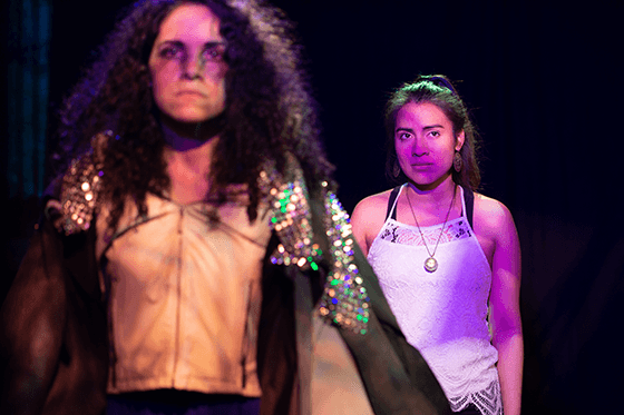 Isaly Viana (Raya) and Valeria Rosero (Mara) in Halcyon Theatre's De Troya, photo by Tom McGrath.