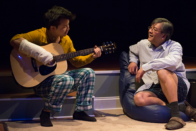 Jin Kim and Joe Yau in Halycon Theatre and A-Squared Theatre's AMERICAN HWANGAP, directed by Helen Young. Photo by Marivi Ortiz.