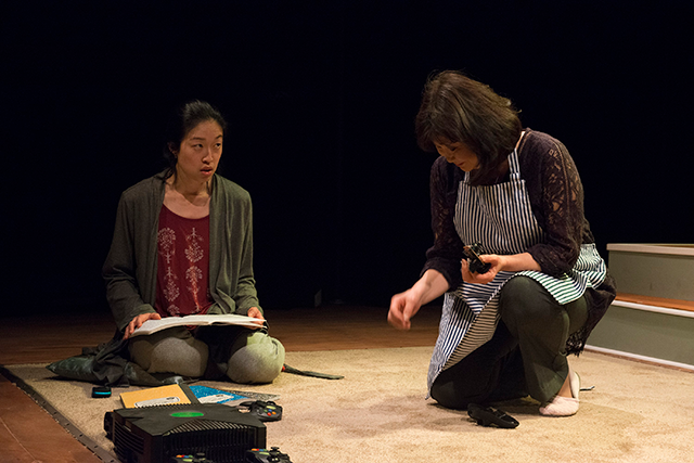 Helen Joo Lee and Cheryl Hamada in Halycon Theatre and A-Squared Theatre's AMERICAN HWANGAP, directed by Helen Young. Photo by Marivi Ortiz.