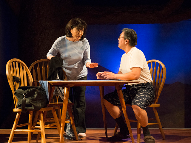 Cheryl Hamada and Joe Yau in Halycon Theatre and A-Squared Theatre's AMERICAN HWANGAP, directed by Helen Young. Photo by Marivi Ortiz.