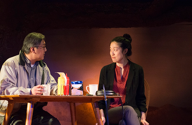 Joe Yau and Helen Joo Lee in Halycon Theatre and A-Squared Theatre's AMERICAN HWANGAP, directed by Helen Young. Photo by Marivi Ortiz.