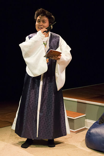 Jin Kim in Halycon Theatre and A-Squared Theatre's AMERICAN HWANGAP, directed by Helen Young. Photo by Marivi Ortiz.