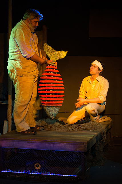 Johnny Garcia as Sr. Costa and Nate Santana as Duarte in Halcyon Theatre's The River Bride, photo by Tom McGrath