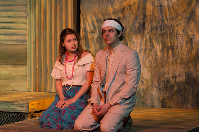 Sofia Tew (Belmira) and Nate Santana (Moises) in Halcyon Theatre's The River Bride, photo by Tom McGrath.