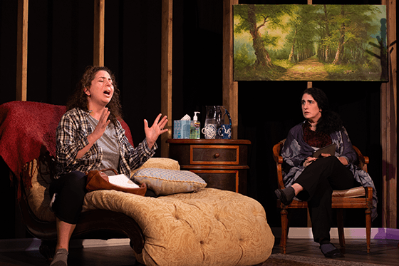 Susaan Jamshidi (Nina) and Jenn Adams (Bonnie) in Halcyon Theatre's The Worst Mother in the World, photo by Tom McGrath
