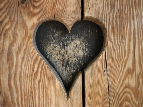 Heart Carved Into Wood