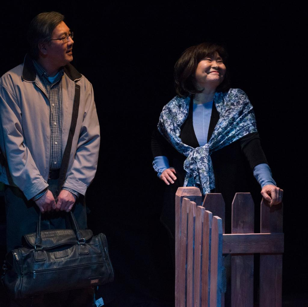 Joe Yau as Min Suk Chun and Cheryl Hamada as Mary Chun in Halcyon Theatre and A-Squared Theatre's co-production of AMERICAN HWANGAP, photo by Marivi Ortiz.