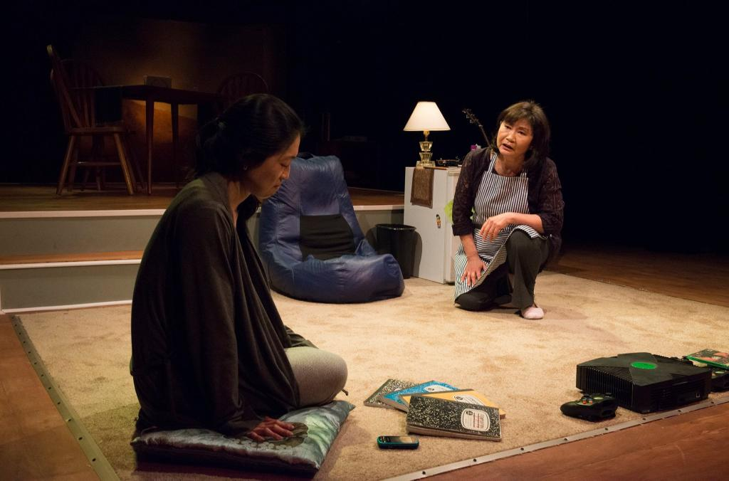 Helen Joo Lee as Esther Chun and Cheryl Hamada as Mary Chun in Halcyon Theatre and A-Squared Theatre's co-production of AMERICAN HWANGAP, photo by Marivi Ortiz