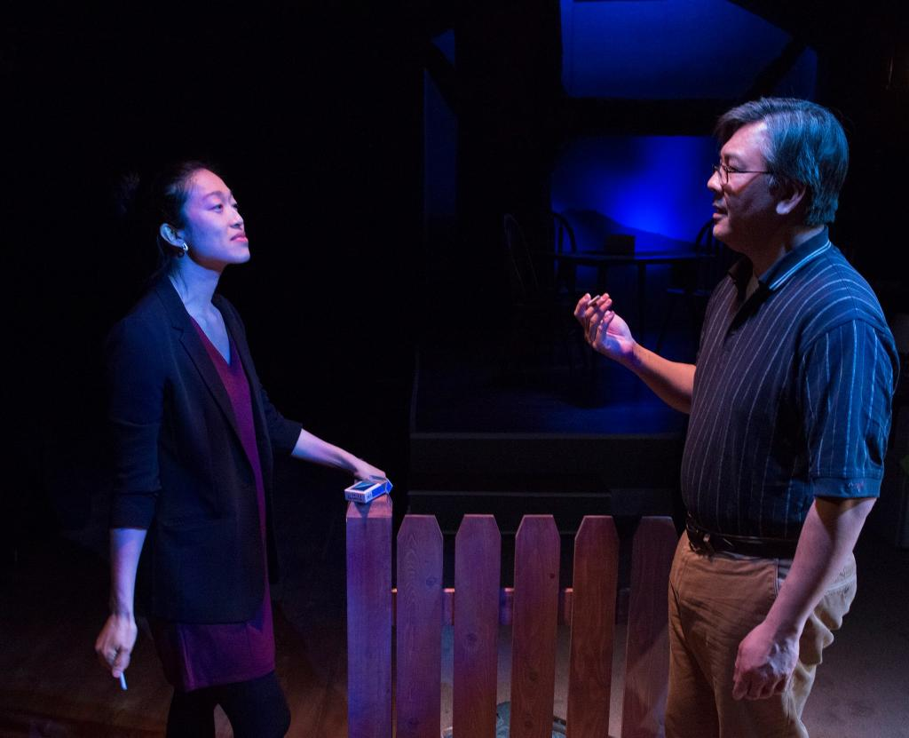Helen Joo Lee as Esther Chun and Joe Yau as Min Suk Chun in Halcyon Theatre and A-Squared Theatre's co-production of AMERICAN HWANGAP, photo by Marivi Ortiz