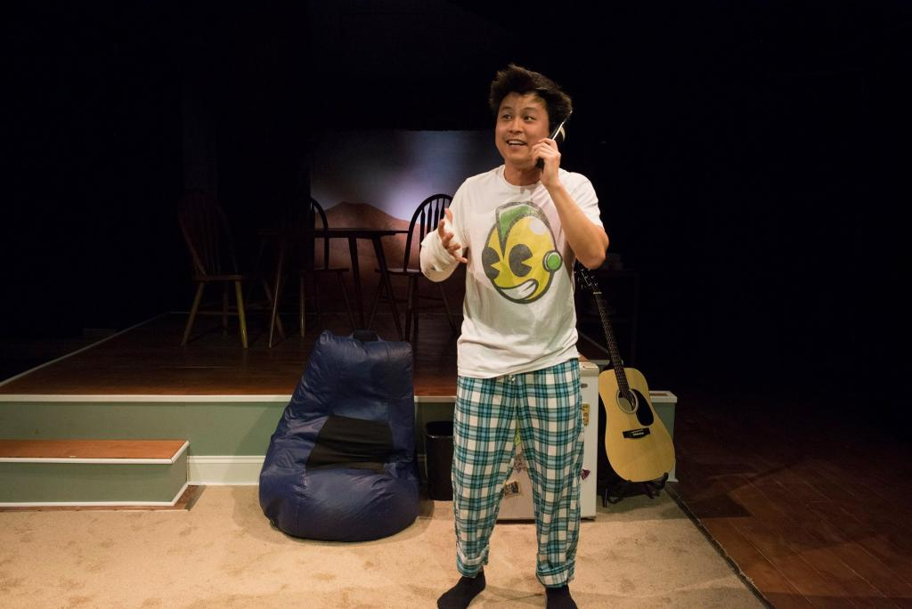 Jin Kim as Ralph Chun in Halcyon Theatre and A-Squared Theatre's co-production of AMERICAN HWANGAP, photo by Marivi Ortiz.