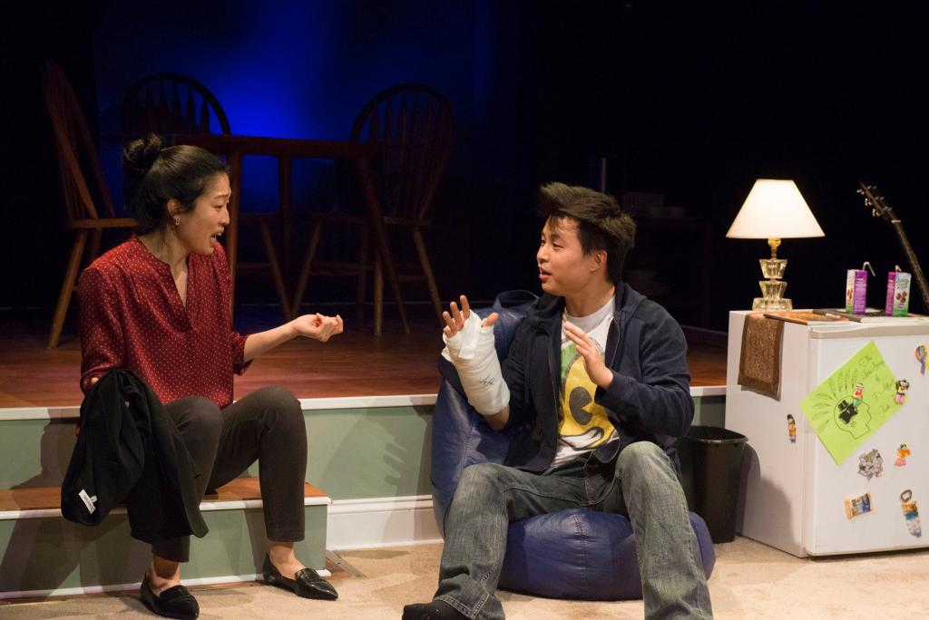 Helen Joo Lee as Esther Chun and Jin Kim as Ralph Chun in Halcyon Theatre and A-Squared Theatre's co-production of AMERICAN HWANGAP, photo by Marivi Ortiz