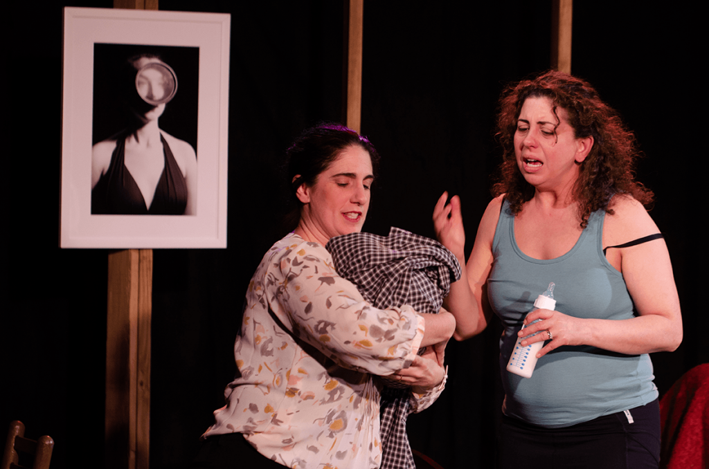 Jenn Adams (Bonnie), Susaan Jamshidi (Nina), in Halcyon Theatre's The Worst Mother in the World, photo by Tom McGrath.